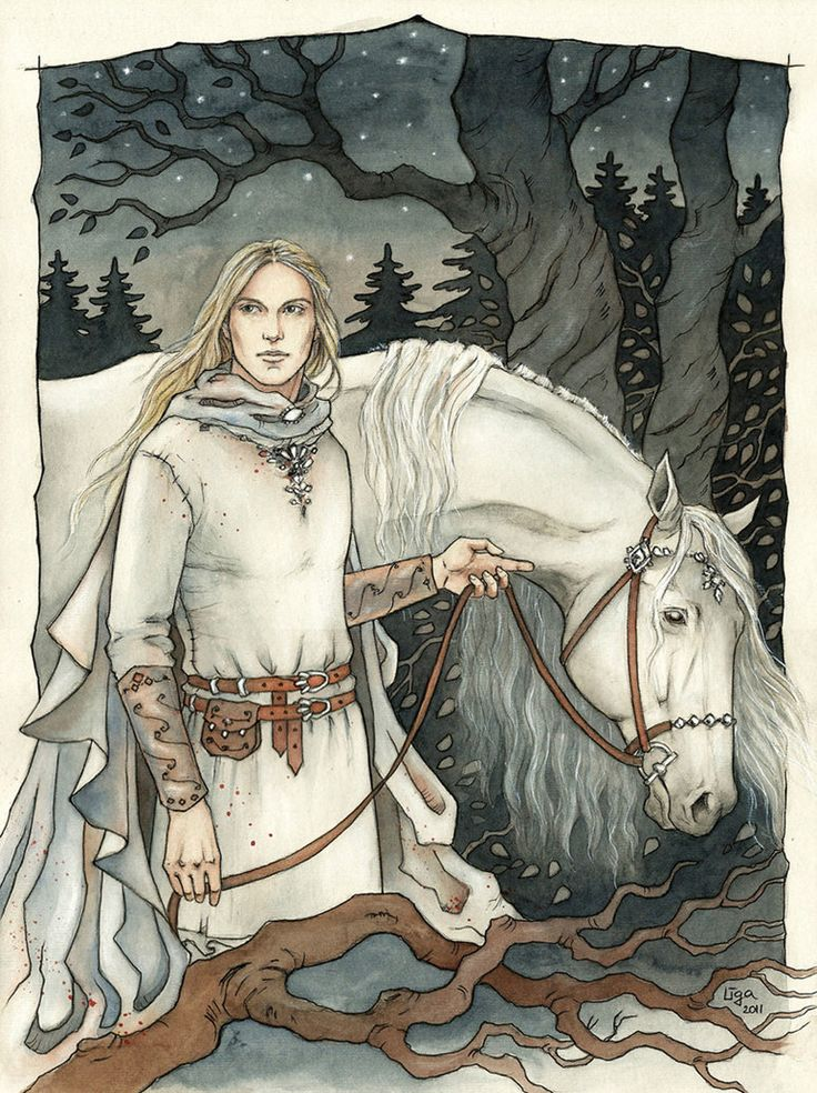 """Glorfindel was tall and straight; his hair was of shining gold, his face fair and young and fearless and full of joy; his eyes were bright and keen, and his voice like music; on his brow sat wisdom, and in his hand was strength."" <-- One of my favorite quotes from the Fellowship of the Ring."