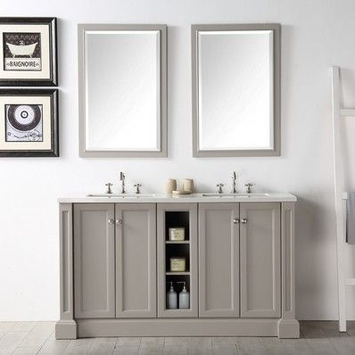 Alexis 60 Transitional Double Sink Bathroom Vanity In Warm Grey By Legion Furniture Discount