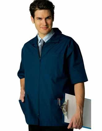 A colored lab coat for men is a must-have from Adar uniforms. It has a zipper closure and short set-in sleeves.