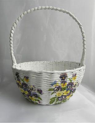Decokuferek - rękodzieło artystyczne, masa solna, papierowa wiklina, decoupage: Koszyczek w kwiatki...