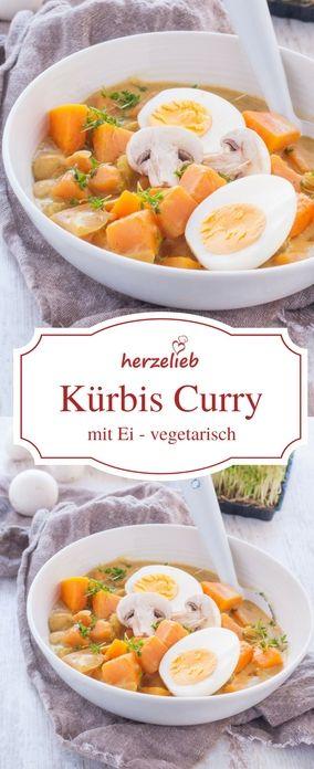 Kürbis Rezepte: Leckeres Kürbis Curry mit Ei. Vegetarisch und schnell gemacht. Rezept von herzelieb.  #vegetarisch #veggie #kürbis #rezept #rezepte #foodblog #rezepte #foodblogger #blogger #foodblogs #deutsch #deutschland #germany