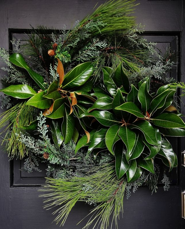 Decorating with fresh greens....magnolia and pine wreath