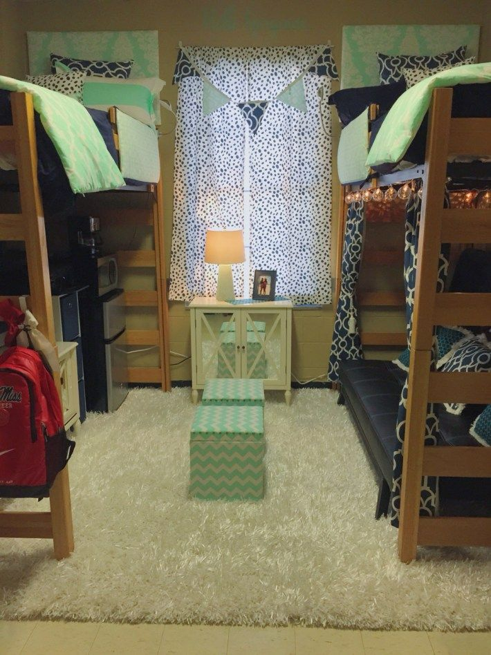 Mix patterns and colors in ole miss dorm rooms!