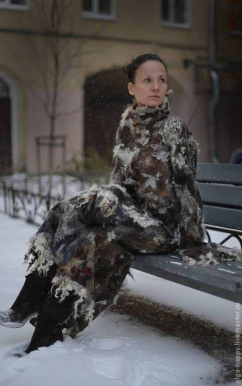 Купить Авторская ручная работа Валяное платье Время глинтвейна - абстрактный, валяное платье, войлок