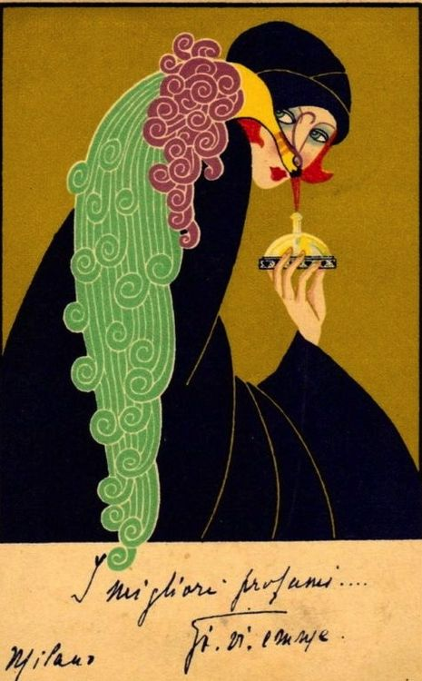 Gorgeous c.1925 Italian Perfume Advertising Postcard. Art Deco
