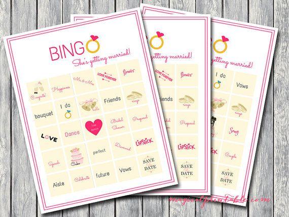 20 Bingo Bridal Shower Games Printable Bridal by MagicalPrintable