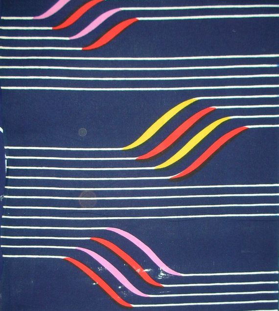 Vintage Yukata Cotton - Bright Flags on Indigo