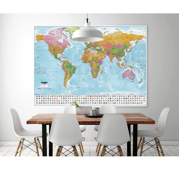 Cute Weltkarte XXL Poster Flaggen