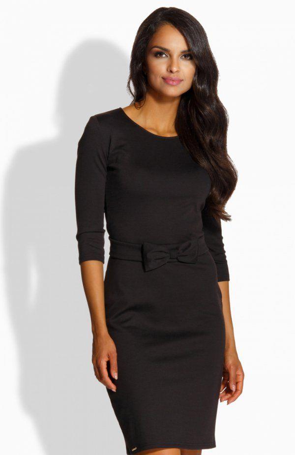 Lemoniade L226 sukienka czarna Piękna kobieca sukienka, wykonana z miękkiej dzianiny, zapinana z tyłu na zamek
