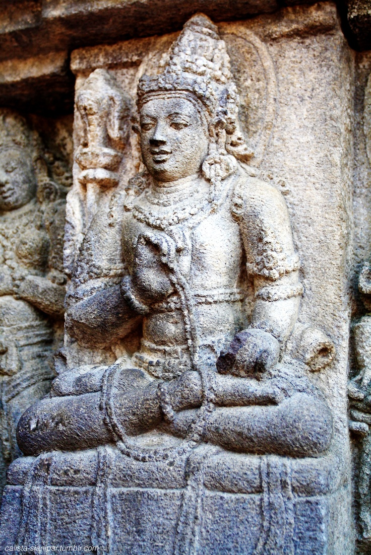 one of the Vishnu carvings on the walls of Prambanan Temple. The details still smooth and beautiful even after centuries