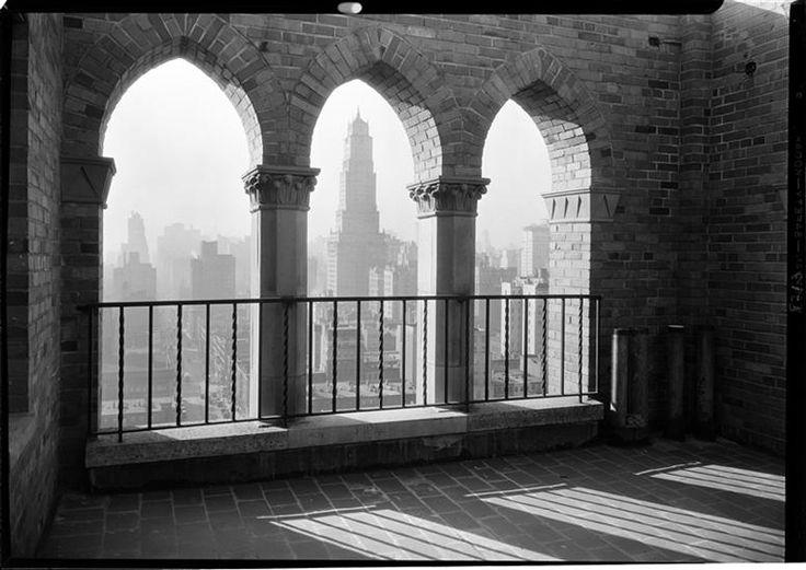 The Vista of city thru three arches. City