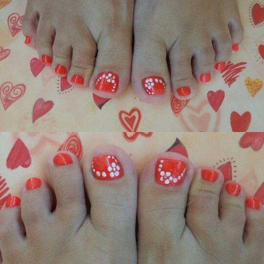 Orly nail polish pedi with flower nail designs...