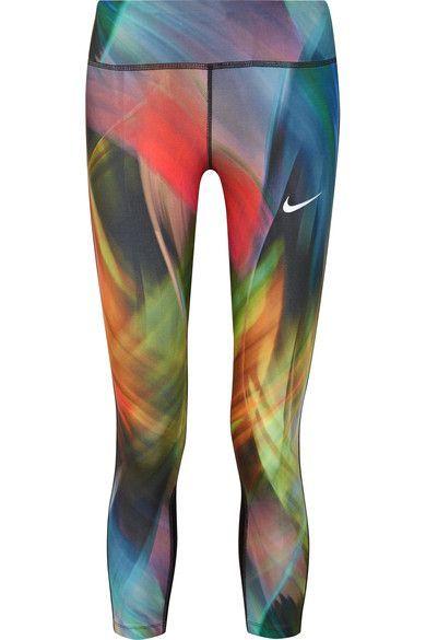 Nike - Epic Run Printed Dri-fit Stretch Leggings - Blue - x large