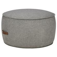 Round Ottoman with Faux Leather Handle