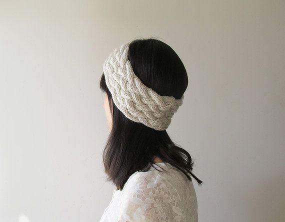 Knit Headband in Ivory Braided Knit Headband Knit Ear