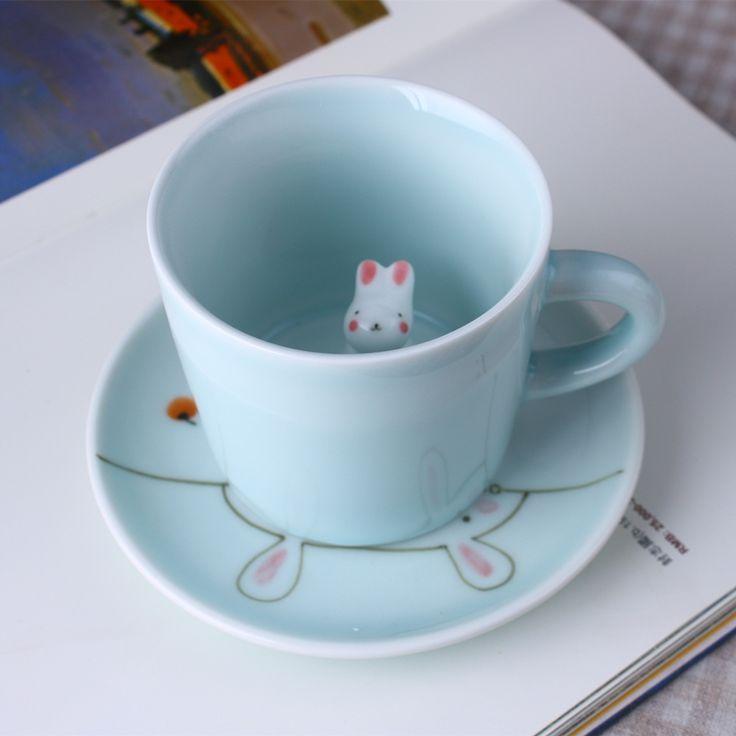 Творческая Личность 3D Стерео Животных Кружка Кофе Кролик Котенок Щенок Керамические кружки office для дома и Отдыха чайные кружки(China (Mainland))