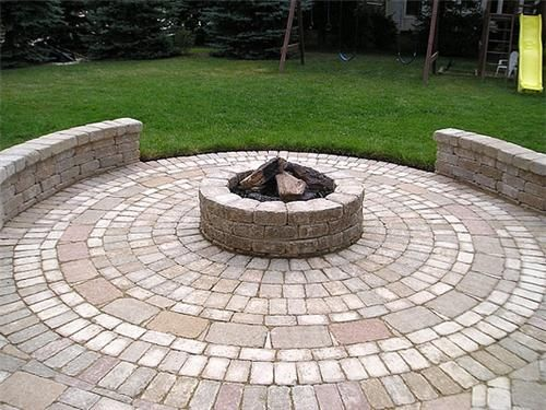 Image Detail For  Pavers Laid In A Circular Pattern To Form A Round Patio  Are