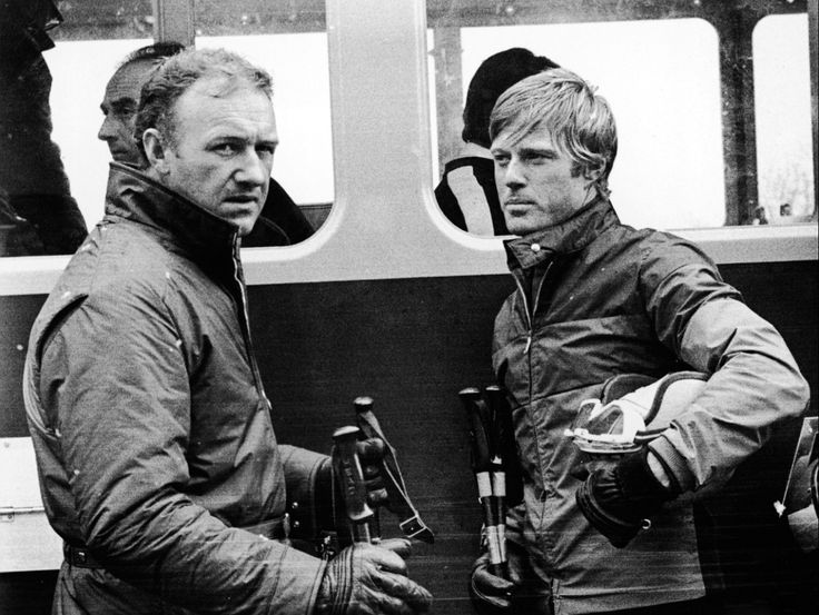 Gene Hackman and Robert Redford on the set of the film Downhill Racer directed by Michael