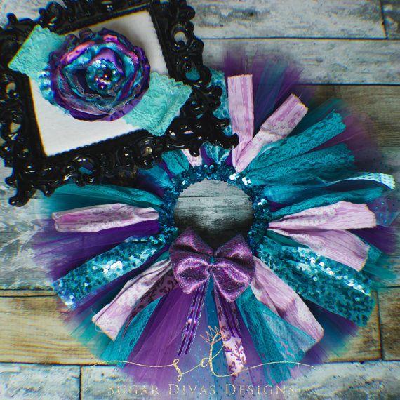 Mermaid Princess tutu set, purple aqua tutu, 2pc purple teal cake smash outfit, first birthday outfit, purple blue tutus, photo prop outfits