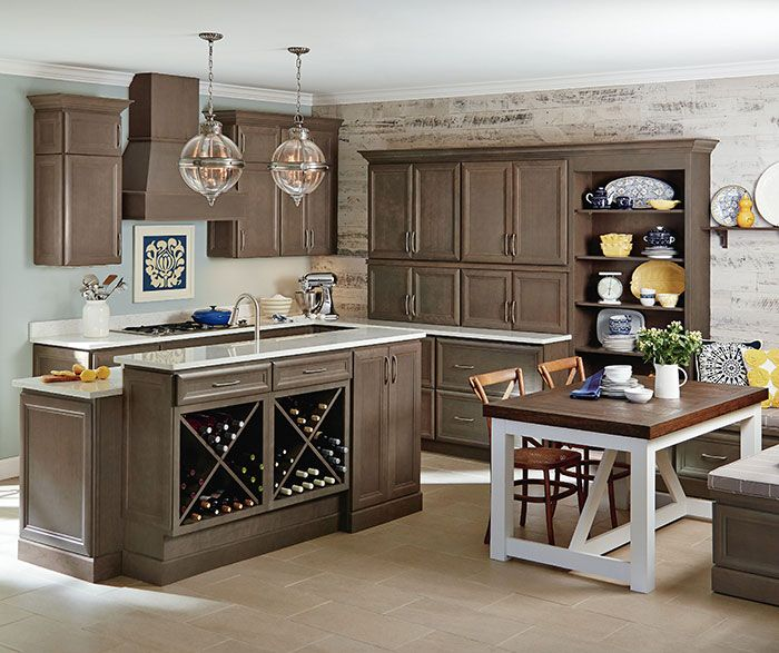This Eat In Kitchen Features Gray Cabinets In Homecrestu0027s Warm, Brownish  Gray Stain, Anchor, And Offers An Amazing Array Of Organization Solutions.
