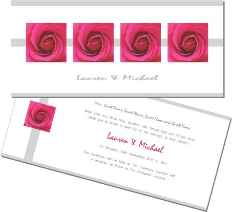 Pink roses, too beautiful. This wedding invitation is great for a garden wedding. To order or view the collection go to: www.allyourinvites.com.au