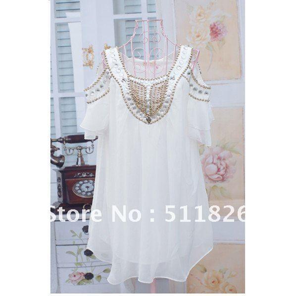 El yapımı boncuklu, retail / takilar Ücretsiz ve gönderim 5122, mini şifon elbise askısız elbise moda $13.73