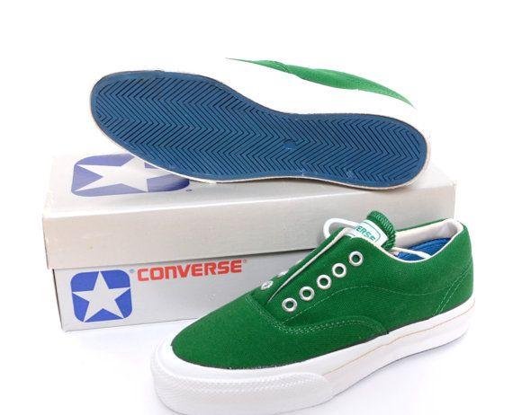 Vintage 1970s Converse Skidgrip NEON Green Canvas Sneakers