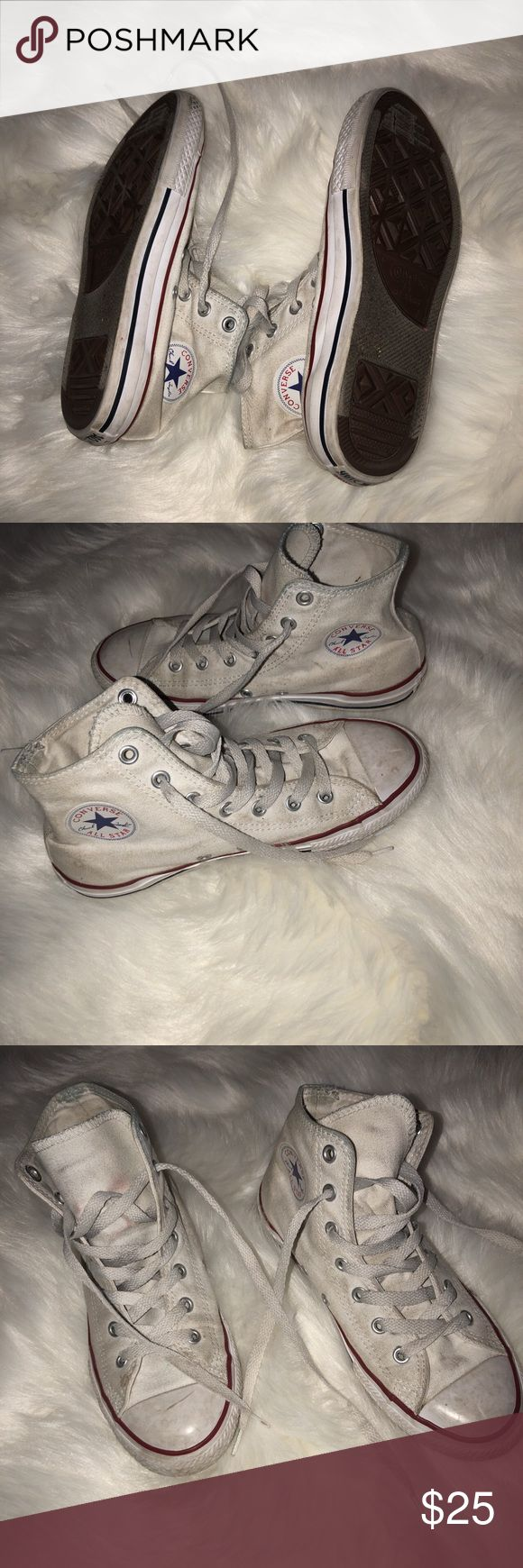 High top white converses for sale Selling my high top white converse, size 4 in kids and 6 in woman. They have wear but are still great. Converse Shoes Sneakers