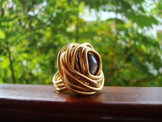 A Majestic Touch! - #Obsidian semi precious #gemstone wire #ring by @ArtGaloreShop http://etsy.me/1vk297T  via @etsy