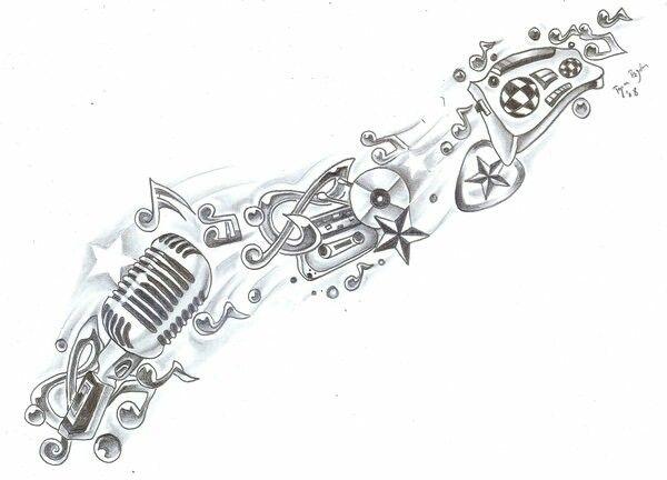 Music sleeve tattoo idea