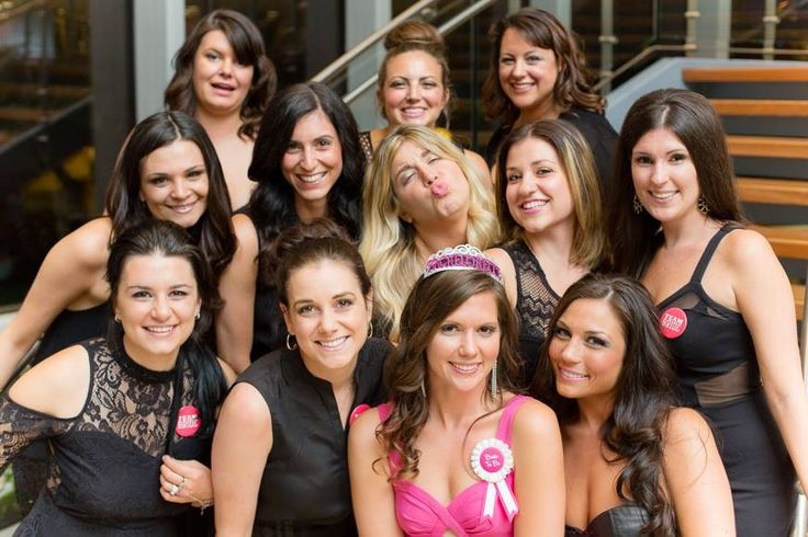 Little Black Dress Bachelorette Party. Bride-to-be in a Little Pink Dress.