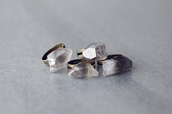 Smoky quartz adjustable brass ring, raw smoky crystal