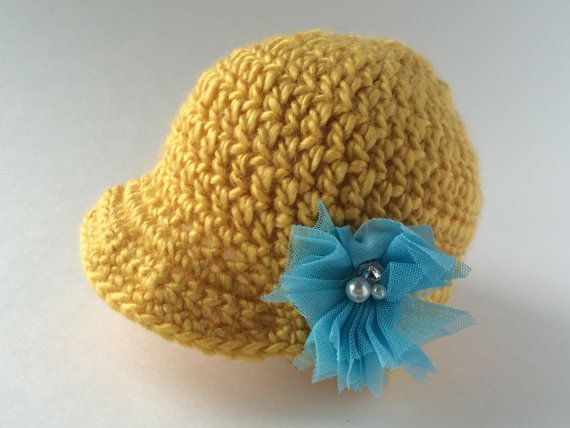 0-3 Months brim hat with Flower and Bling by hunnibeecrafts