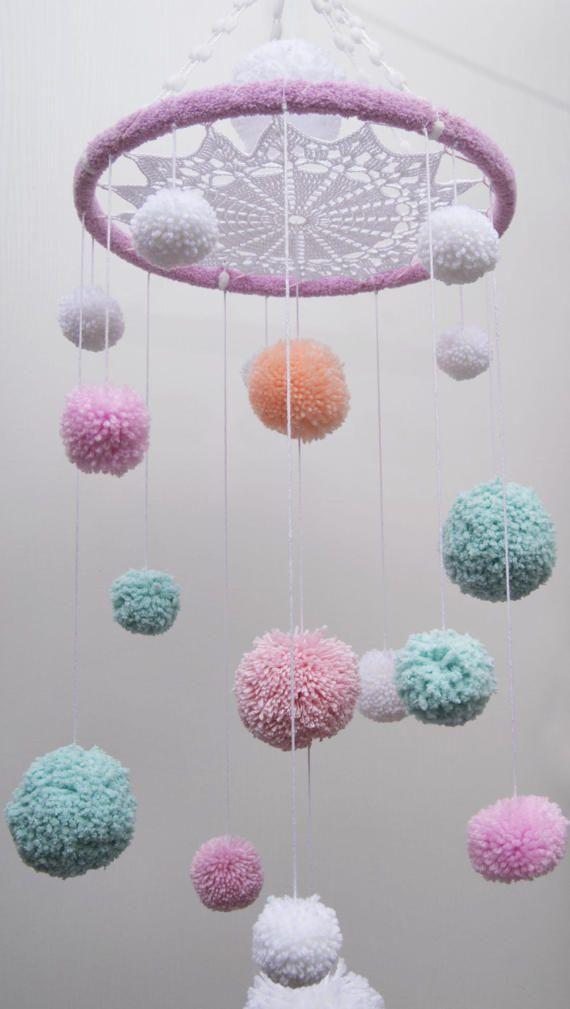 Gift Ideas of Pom Pom Mobile Nursery Babb Mobile Blank Crochet Doily Dream Catcher Child Decor Cheerful Bed Bedroom Dreamcatcher Baby Girl Boy