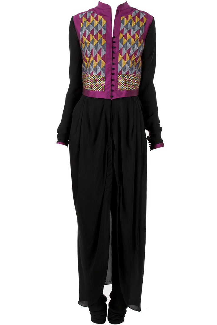 Black cowl draped waistcoat kurta set by payal pratap