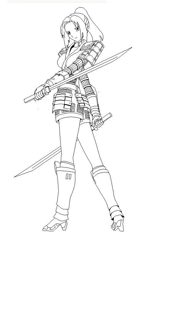 Ninja sword woman coloring page epic pics pinterest for Katana coloring page