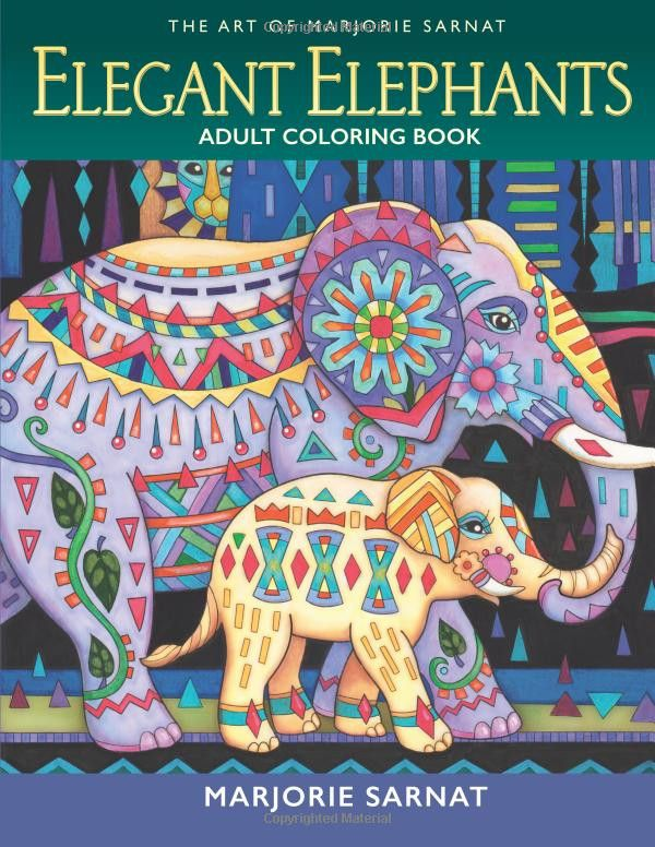 Over 33 Pages for Elephant Lovers to Color Marjorie Sarnat delights the colorist with these original elephant illustrations, hand drawn in her much loved, imaginative style. Inspired by the strength,