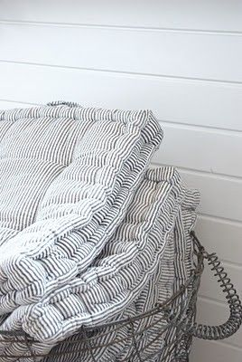 You can never have enough ticking.   Via Ticking and Toile