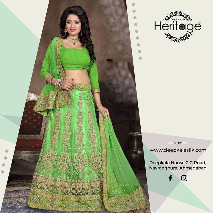 Discover the beauty of handwoven ethnic wear that exemplify rare and distinct beauty. https://www.deepkalasilk.com/green-net-lehenga-choli.html #Cotton #Beauty #boldness #deepkala #silk #heritage #deepkalasilkheritage #TraditionalWear #Anarkali #AnarkaliSuits #SalwarKameez #BeSpoke #SalwarSuits #Lehenga