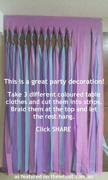 DIY curtains drapes Directions: need 3 same size pieces of fabric - sheets - tablecloths - Cut - tear into ribbons strips except for near the tops; braid the strips for several inches let remaining sections hang loose. Frilly girlie home decor, circus tent, gypsy boho, vintage