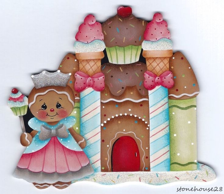HP GINGERBREAD Princess with Castle FRIDGE MAGNET #Handpainted