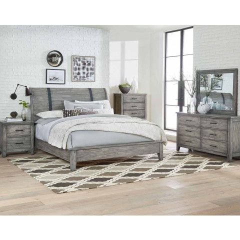 This timeless bedroom set has it all. With a rustic, farmhouse feel, the simple elegance of the Nelson Grey Bedroom set is casual, clean, and refreshing.<br><br> Complete set includes a sleigh bed with industrial accented metal straps, dresser, mirror,