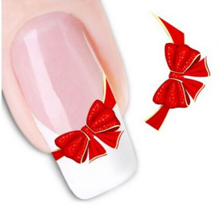 Buy 1sheets DIY Designs Women Elegant Nail Art Stickers Decals Red Butterfly Tie Decals Patch French Tips Care Styling Tools STZ-034 at JacLauren.com