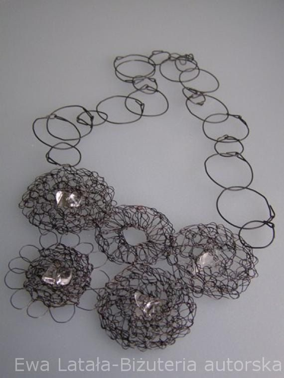 NECKLACE  - made of special steel wire. Hand made designer  jewellery.crystals, new, unique by EcoDyeing on Etsy