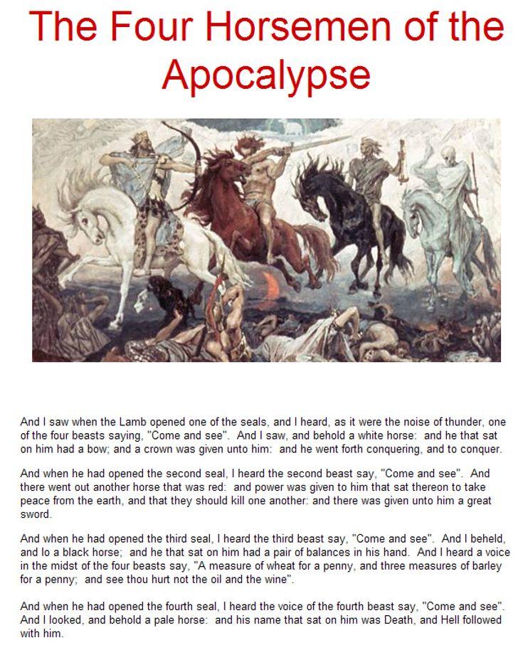 The Four Horsemen of the Apocalypse Lesson Plans for Teachers