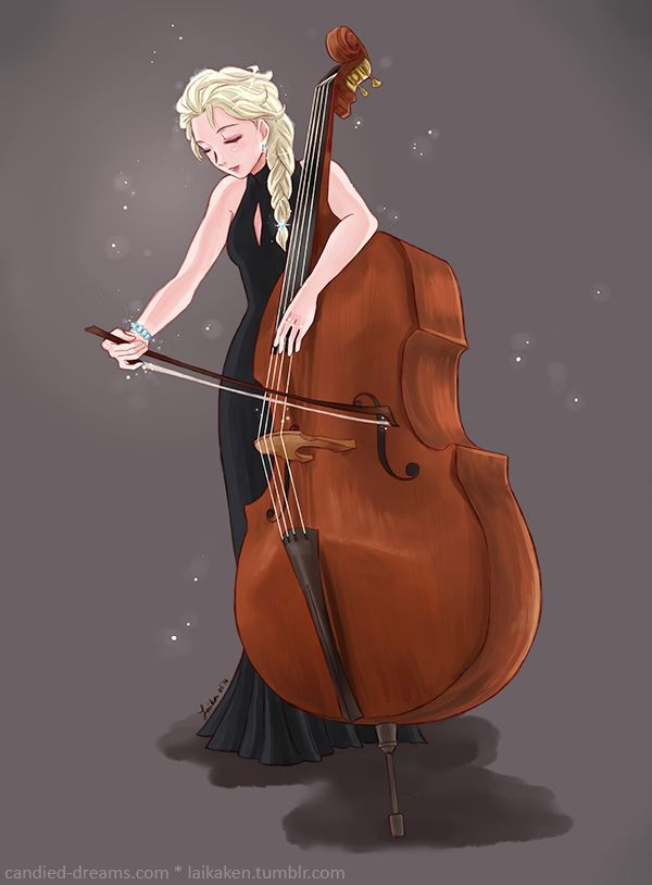 Elsa playing the bass. She Let Go /at one concert I went to the basses got the melody for let it go.
