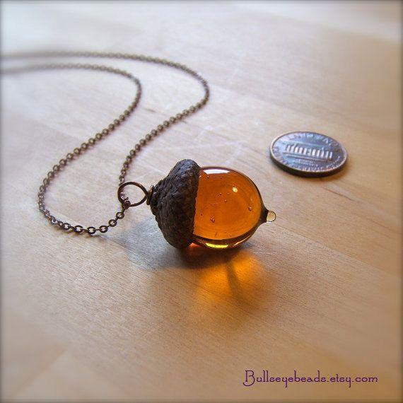 Glass Acorn Necklace - Transparent Topaz by Bullseyebeads
