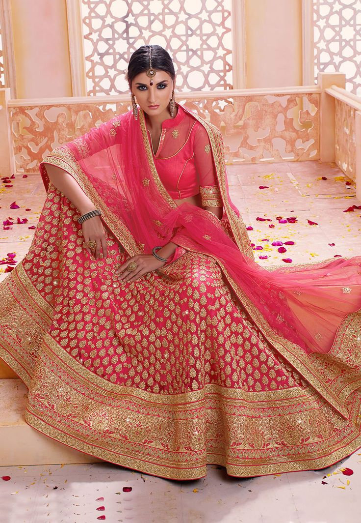 #Floral Embroidered Net #Lehenga in Fuchsia