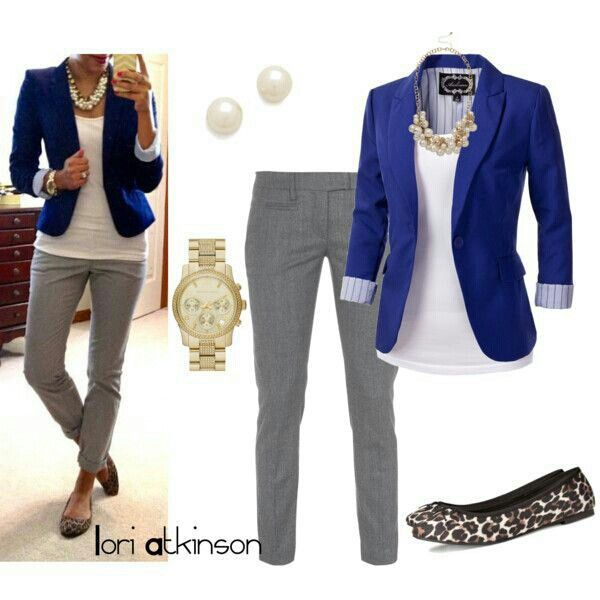 Business Casual Grey pants, White shirt, Blue blazer and leopard flats Love this look!!