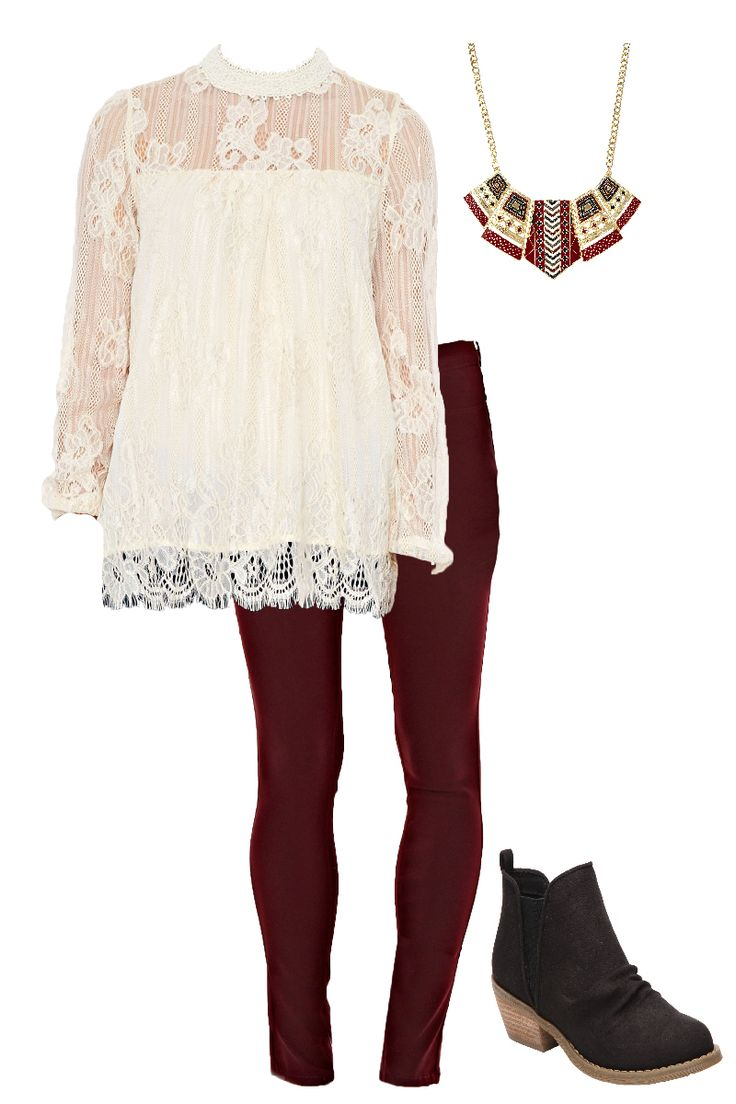 Style these maroon burgundy skinny pants with the cutest creme frilly lace top. Add a pair of black booties and a statement necklace and you're all set for the perfect outfit!